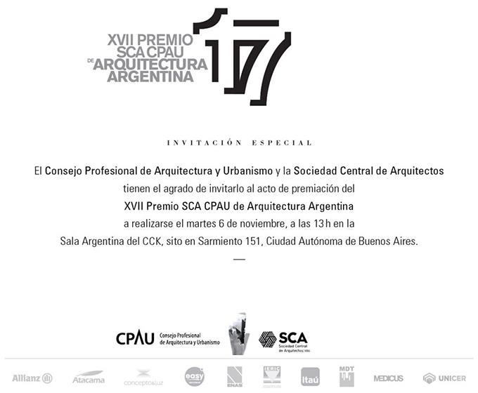 XVII PREMIO SCA CPAU DE ARQUITECTURA ARGENTINA 2018