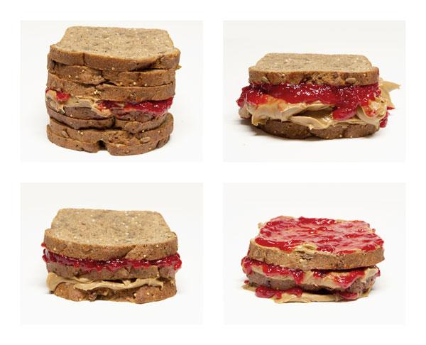 Imagen 2: sándwiches (de arriba hacia abajo en el sentido de las agujas del reloj); extra alto, extra viscoso, extra pegajoso, particionado.