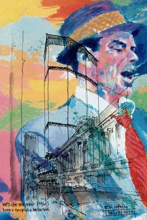 Intervención de Eduardo Di Clérico sobre tapa del disco.
