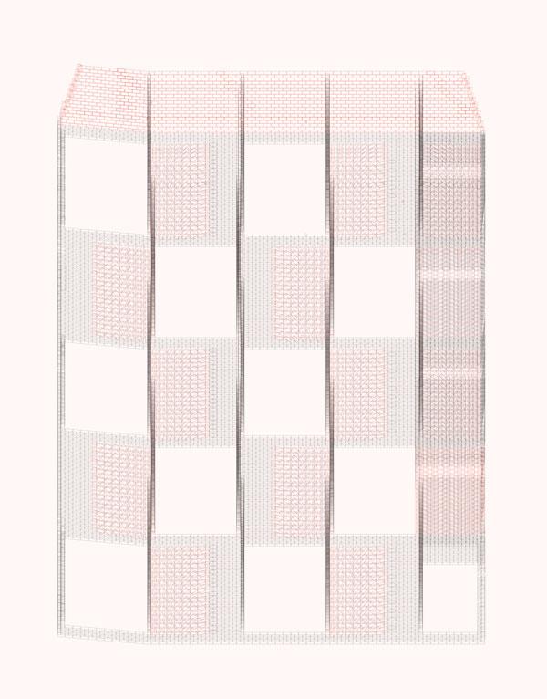 Edificio Damero. Francisco Cadau Oficina de Arquitectura. Campana, 2019. Plantas, secuencia de hiladas de la porción frontal de la envolvente de ladrillos, de arriba hacia debajo de la 1 a la 259. En rojo variaciones de rotación y translación del mampuesto respecto al aparejo de soga genérico.