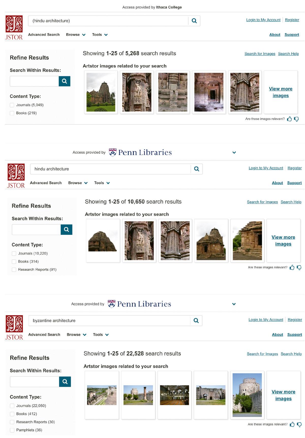 Capturas de pantalla de la pagina web JSTOR Ithaka College.