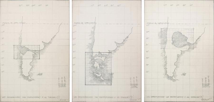 """Obra: Horacio Zabala. """"Las deformaciones son proporcionales a las tensiones I, II y III"""", tríptico (1974). Grafito sobre papel de calco 64,5 x 31,5 cm cada pieza. Colección Tate Modern, Londres"""