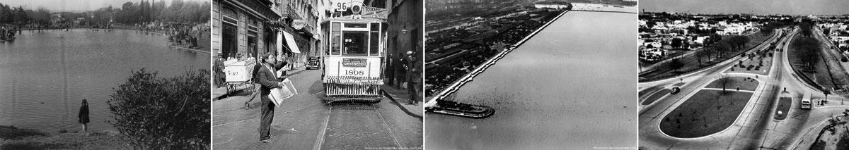 De izquierda a derecha: Lago en Av. General Paz y Cabildo (Archivo General de la Nación); Tranvía en Montserrat, 1942 (Archivo GCBA); Balneario Costanera Sur, 1935 (Archivo GCBA); Av. General Paz, 1941 (Archivo Clarín)