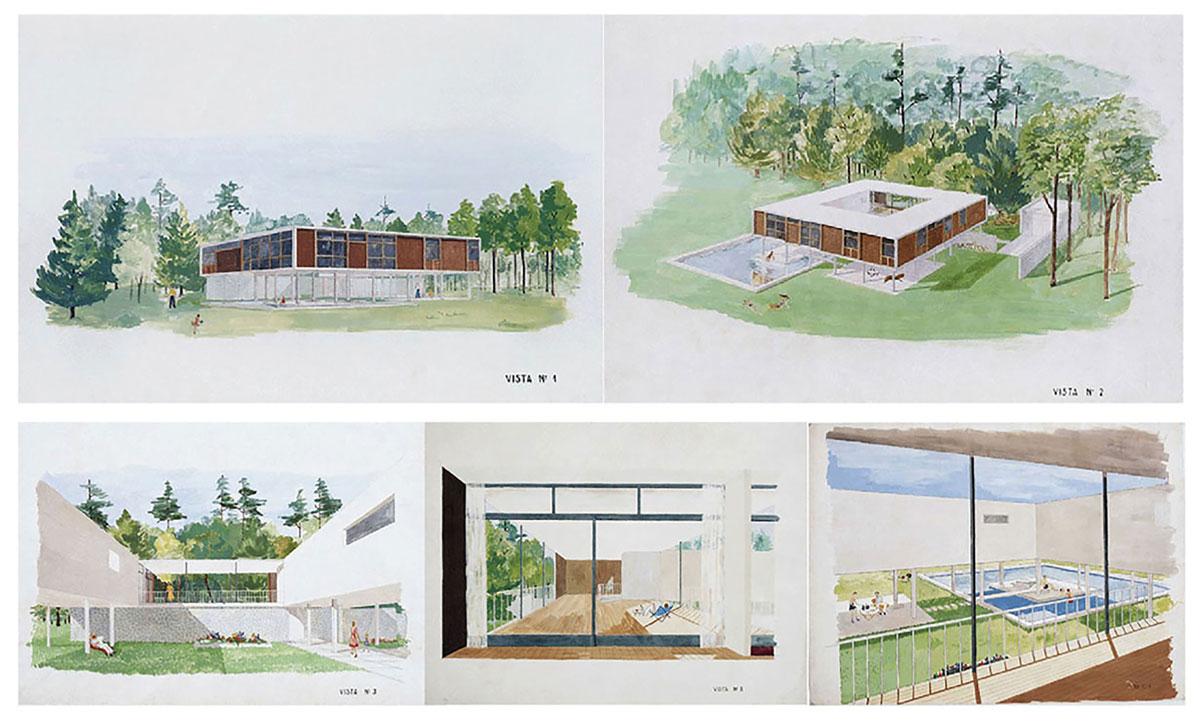Perspectivas para la Casa de Mario Williams, 1943. Fuente: Archivo Amancio Williams www.amanciowilliams.com