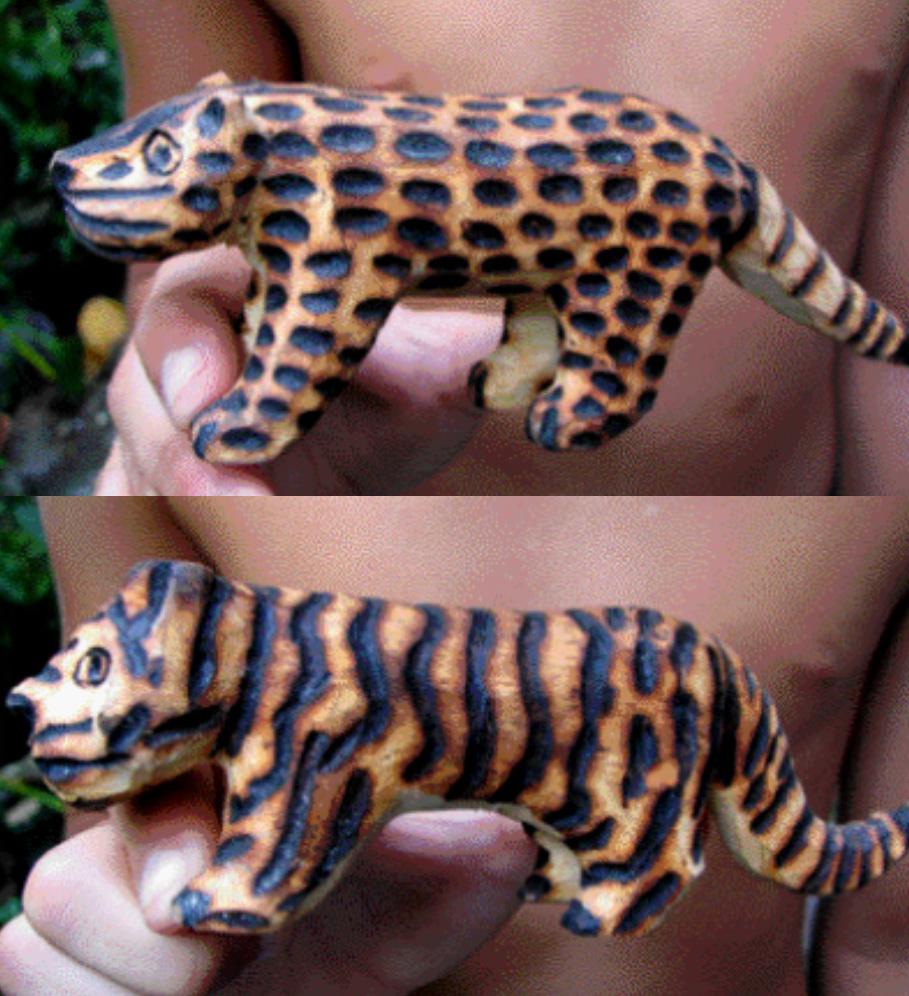 Transformación de un jaguar en un tigre de Bengala. Artesanías guaraníes. Foto: Claudio Bertonatti. En: Revista Vida Silvestre, N°98