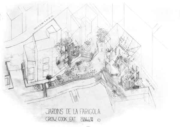 Espacios intermedios, escala 1:100. Lorain Bernasconi.