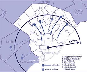 Figura 3. Terminales de líneas radiales, primera fase de ampliación.